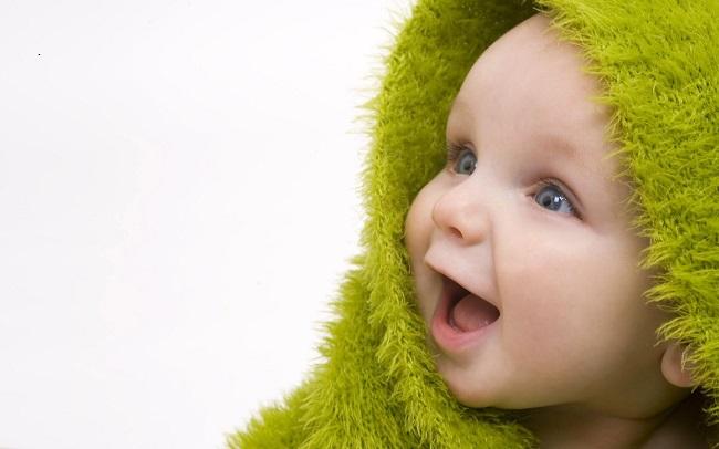 緑のスカーフ、かわいい赤ちゃん