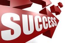 Success arrow in red
